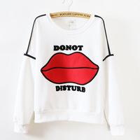 2015 New Spring Cotton Letter Hoodeis Women Casual Fleece Long Sleeve Red Lips Pullovers Women Hoodies Sweatshirts KQ585