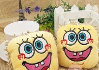 Kawaii 7CM Sponge Bob Plush Stuffed TOY DOLL Phone & Laptop Screen Cleaner Wiper Cell Mobile Phone Strap Charm Chain TOY DOLL