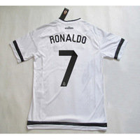 new season 15/16  Real madrid jersey soccer  RONALDO #7 home white with Club World Cup champion 15 16 Jersey shirt