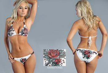 Прохладный женщины панк роза пистолет бикини купальники со стразами, горячая бренд купальники пляжная одежда, купальный костюм танкини бикини 2 цвет