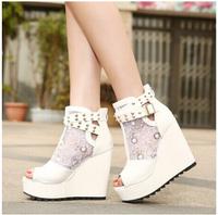 Women Summer Rivet Rhinestones High Heel Shoes Wedges Platform Shoes Peep Toe