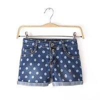 free shipping 2015 new women's quality high waist dot print roll cuff denim shorts