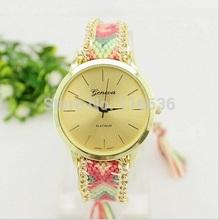 Rainbow Geneva Platinum Watch Women Indian Fashion dress watch wristwatch Ethnic Style Hippie Ribbon Lace Gold
