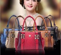 2015 New women fashion branded Ostrich grain handbag tote shoulder bag female bags PU leather W146