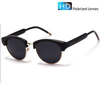 polarized sunglasses women half-frame Round vintage sunglasses men brand designer vintage sun glasses half-frame female TB009