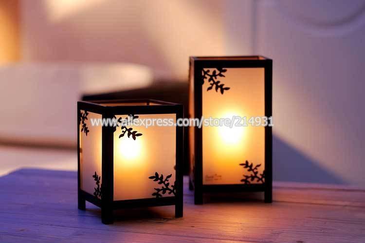 Decoration Asian Garden Candle Holder Japanese Shoji Stained Glass Lantern w/ Metal Leaves Sketch Wedding Centerpiece Size Big(China (Mainland))