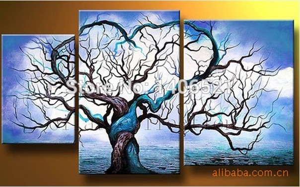 High Quality 3 Piece Set Blue White Sky Lovers Heart Tree Ocean Waves Oil Painting On Canvas Seascapes Wall Art Bedroom Decor(China (Mainland))