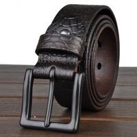 belt 2015 Natural cowhide for men Business fashion belt with pin buckle Jeans Strap  Vintage Brand Pure Leather belt