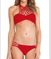 New 2015  Mid Waisted Bikini Set  Summer Women Beach Swimwear  Bikini Sexy Fashion Women Sexy Rope Highlight  Bikini LC41057