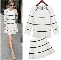 2015 NAVA Winter Fashion Women Elegant Long-sleeve Casual Set Print Twinset One-piece Dress Women Suit