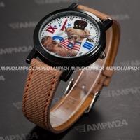 Fashion Brown Leather Band Strap Mens Relogio White Round Dial Analog Male Quartz Clock Wrist Men Dress Casual Watch / PHN010
