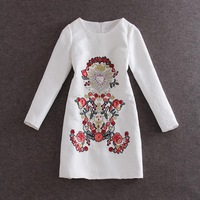 free shipping Spring Summer women's wholesale 2015 new high quality Jacquard cotton embroidered long sleeve dress