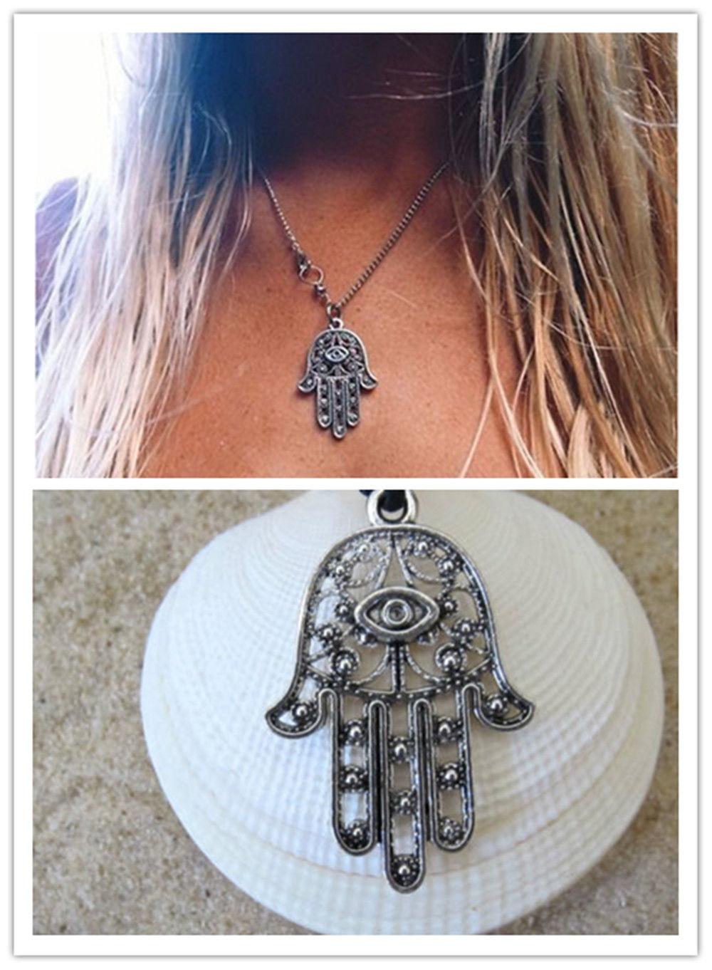 Hamsa Fatima Hand Pendant Charm Silver Chain Necklace Jewish Judaica Kabbalah(China (Mainland))