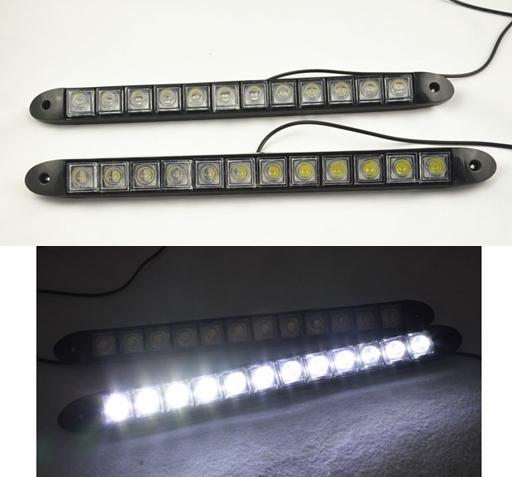 High Power Daytime Running Light 2 x 12 LED DRL Daylight Head Lamp Car Auto 12V  free shipping(China (Mainland))