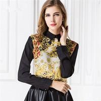 Europe Vintage Print Long Sleeve metal zipper Fashion Women Blusas Shirts CONTRAST COLOR Casual Chiffon Ladies Blouses 30455