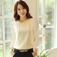 2015 New Arrival Slim Women Long Sleeve Chiffon Shirt Lace Pearl Decoration Blouse Tops Free Shipping&Whloesale