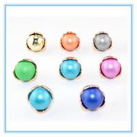 Fashion Jewelry Stud Earrings Round Multilayer Beads Metal Cover Double Side Wear Flower Crystal Earring Jewelry