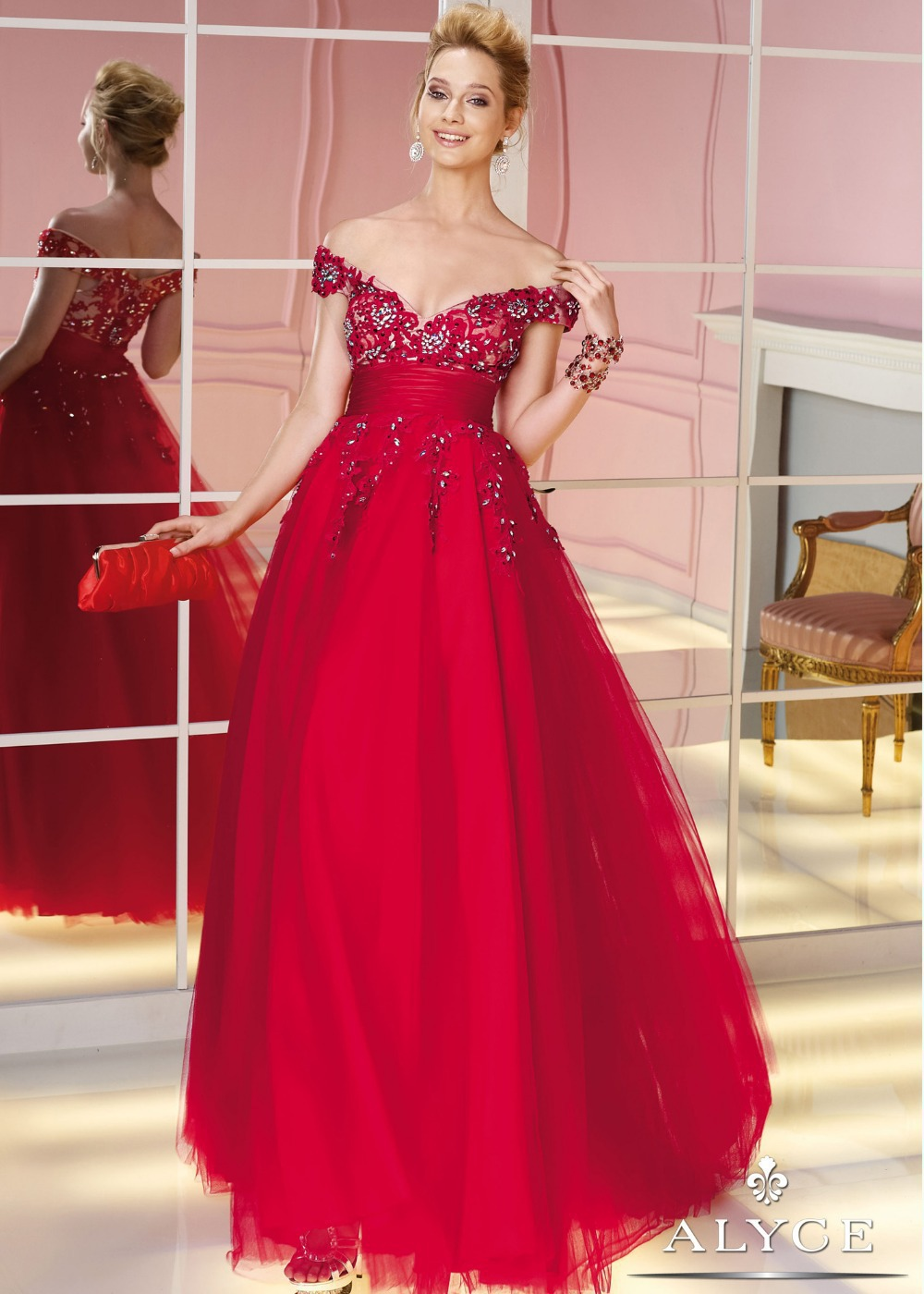 Passionate Red Fashion Design Off The Shoulder A-line Long With Crystals Formal Evening Dresses Gowns(China (Mainland))