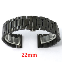 Black Watch Band Strap 22mm Stainless Steel With Spring Bars Banda De Reloj GD013722