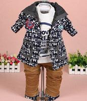 new 2015 boys hood+t shirt+pant clothing sets 3pcs kids clothes baby boy coat set boy children garment boys clothes sets