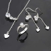 Wholesale 925 Silver Jewelry Sets Fashion Jewelry,white drop heart R+E+N Best Service SMTS672