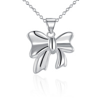 Wholesale 925 Silver Necklaces 925 Silver Fashion Jewelry,cute Bow Necklace Best Service SMTN619