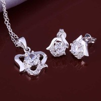 Wholesale 925 Silver Jewelry Sets Fashion Jewelry,white rose E+N Best Service SMTS650