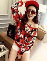 2015 new fashion Womens autumn Casual Minnie Mouse print Hoodies Sweatshirts Loose Long Sleeve Pullover Sweatshirt Top