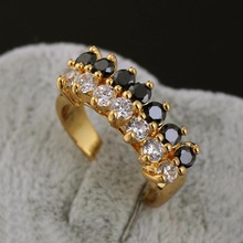 Free Shipping 18K Gold Filled Rings White&Black Crystals CZ Eternal Engagement Love Rings For Women Jewellry Hot Sale