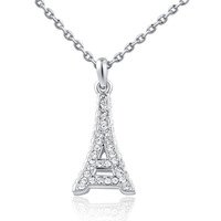 Fashion Women Girl Casual Necklace Long Link Chain Platinum Plated Eiffel Tower Pendant Necklace Crystal Jewelry collares