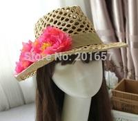 2015 Wholesale and Retail Fashion Women Wide Large Brim Floppy Summer Beach Sun Straw Hat Cap beach flower  Free Shipping