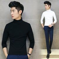 2015 t shirt cotton t shirts autumn new Korean version of slim body building men turtle neck long sleeve t shirt t shirt