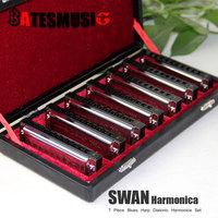 Harmonica SWAN Bluesband 7 Piece Blues Harp Diatonic Harmonica Set w / Case + wipes