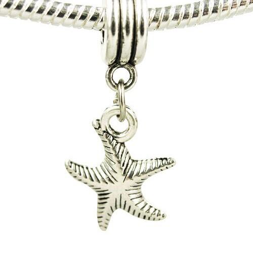 Minimum order 10 Fit pandora Women Jewelry 925 Silver Bead Charm Silver Box Starfish Bead Fit