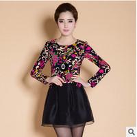 2015 spring new Korean women's fashion Slim leave two long-sleeved dress women bottoming