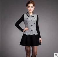 2015 winter new M-XXXL Slim thin long-sleeved dress fashion women dress lapel stitching