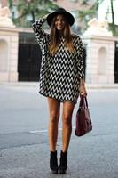 Spring Summer Women Dress, 2015 New Office Lady Chiffon Dress, Stripe Long Sleeve Dresses