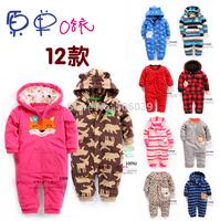 2015 spring new children's wear fleece leotard baby girl romper hood baby boy jumpsuit kids outwear baby overalls