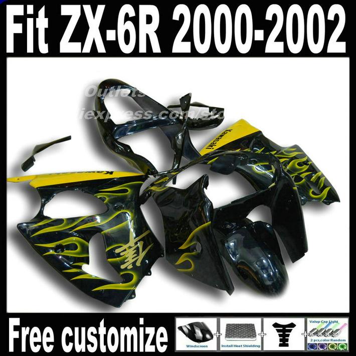 Motorcycle Fairings set for Kawasaki ZX6R 2000 2001 2002 Ninja 636 fairing kit ZX-6R 00 01 02 yellow flames in black MH31(China (Mainland))