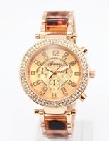 100pcs/lot  geneva design mixed plastic and metal band hot diy vogue watch