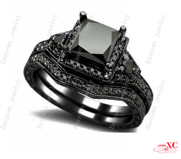 Sale Fine Jewelry New Fashion Black Sapphire 14KT Black Gold Filled Finger Wedding Rings AAA Zircon Unique Design F3069 2 piece(China (Mainland))