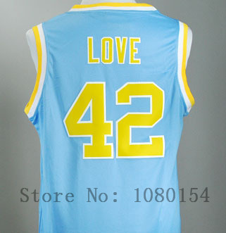 Free shipping,2014 ping E-Packet UCLA Bruins Kevin Love #42 Blue College Basketball Jerseys(China (Mainland))