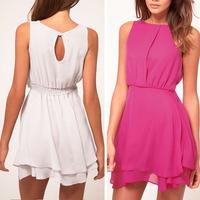 2015 New Arrival Slim Lady Holiday Casual Chiffon Beach Dress Sexy Sleeveless Sundress Free Shipping&Whloesale