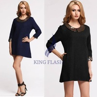 New Stylish Lady Fashion 3/4 Sleeve Paillette Sequins Loose Doll Collar Mini Dress