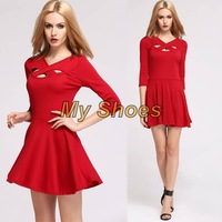 Stylish Women's Fashion Sexy Hollow Out Cross V-Neck Short Pleated Dress Red