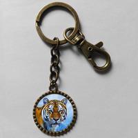 Wholesale 6$ Tiger Keyring Key Chain Art Glass Pendant Cute Keychain Gift lot Fashion Jewelry FreeShipping