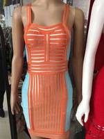 Wholesale Ladies HL Bandage Dress Strap Sleeveless Sexy Mini Dress Orange Color Evening Party Dress High Quality