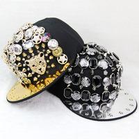Fashion hiphop punk rivets personalized caps badge diamond leopard head hip hop baseball caps 4styles