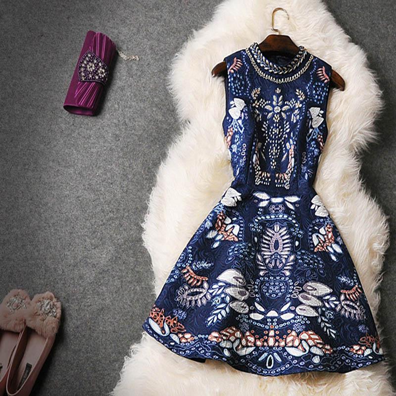 women dress Women's High Quality Noble Party Dress Luxurious Printed Beading Rivet Diamond Dobby Cotton Tank Dress dresses(China (Mainland))