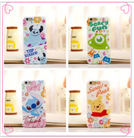 New 5 styles soft silicon tpu cartoon monsters stitch pooh bear aliens back cases cover For iphone 6 plus case , free ship!